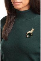 Kenneth Jay Lane Crystal Embellished Cat Brooch