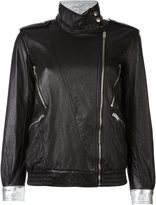 Saint Laurent zip detail jacket - women - Cotton/Lamb Skin/Cupro - 38
