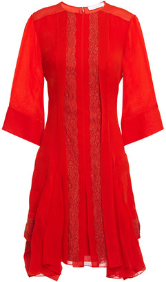 Chloé Asymmetric Lace-paneled Pleated Georgette Mini Dress