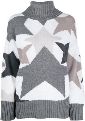 Lorena Antoniazzi Star Print Roll-Neck Jumper