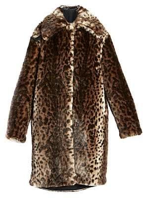 d7ffcb29ee Women's Faux Fur Leopard Coat