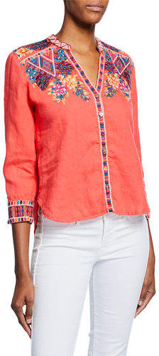 Johnny Was Quinn Embroidered Button-Front 3/4-Sleeve Linen Blouse