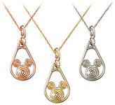 Disney Mickey Mouse Gold Coiled Necklace - 18K