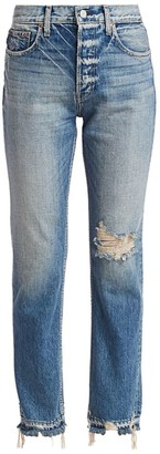 TRAVE Constance High-Rise Distressed Straight-Leg Jeans