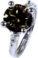 RINGJEWEL 2.19 ct VS1 Round Moissanite Engagement/Wedding Silver Plated Ring Color Size 7