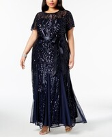 Thumbnail for your product : R & M Richards Plus Size Sequined Godet Gown