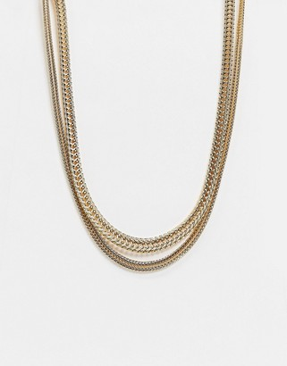 Liars & Lovers multirow necklace in gold snake chain