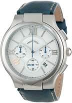 Philip Stein Teslar Men's 45-CRSIL-CSTN Round Silver Chronograph Dial Navy Stitched Calf Strap Watch