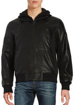 GUESS Hooded Faux Leather Bomber Jacket