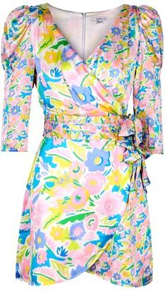 Olivia Rubin Ren Floral-print Satin Mini Dress