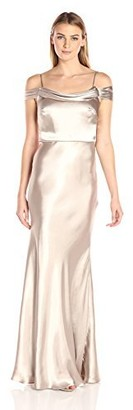 Jenny Yoo Women's Sabine Draped Off The Shoulder Charmeuse Gown