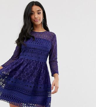 Asos DESIGN Petite premium lace mini skater dress-Navy