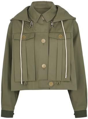 Loewe Army green hooded cotton jacket