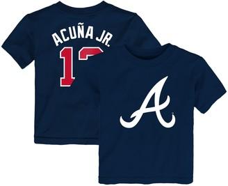 Majestic Toddler Ronald Acuna Jr. Navy Atlanta Braves Player Cap Logo Name & Number T-Shirt