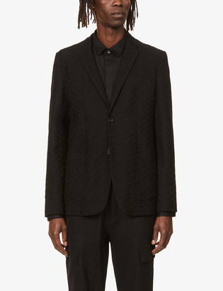 Emporio Armani Single-breasted wool and cotton-blend blazer