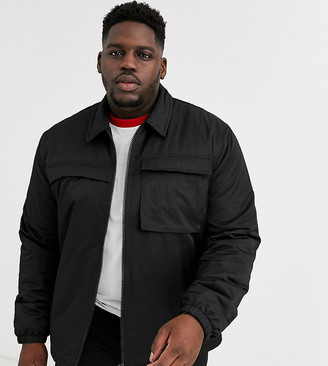 ASOS DESIGN Plus quilted jacket with utility details in black