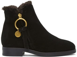 See by Chloe Black Shearling Louise Ankle Boots