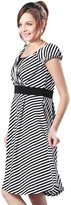 Sweet Mommy Maternity and Nursing Stripe Cache Coeur Design Dress BKWHL