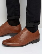 Asos Brogue Shoes In Tan