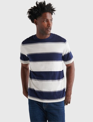 Short Sleeve Sunset Striped Crew Neck Tee