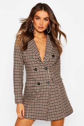 boohoo Tonal Check Double Breasted Blazer Dress