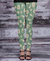 Beyond This Plane Women's Leggings MNT - Mint & Cream Floral Leggings - Women & Plus