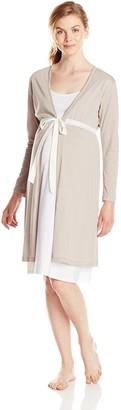 Belabumbum Women's Maternity Starlit Tie Front Long Sleeve and Nursing Robe Large/X-Large