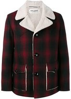 Saint Laurent faux shearling checked coat
