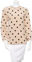 Kate Spade Polka Dot Print Ruffle-Trimmed Blouse