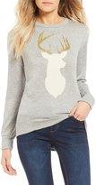 Living Doll Reindeer Caviar Beaded Holiday Sweatshirt