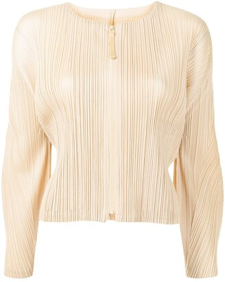 Pleats Please Issey Miyake Pleated Zip-Front Top