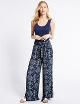 Marks and Spencer Printed Crepe Wide Leg Trousers