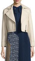 Diane von Furstenberg Valeria Leather Zip-Trim Jacket, Tan