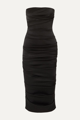 Alex Perry Ace Strapless Ruched Satin Dress - Black