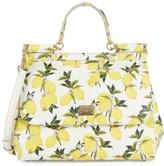 Dolce & Gabbana Lemon-Print Leather Top Handle Bag