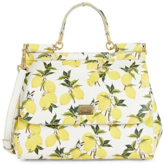 Dolce & Gabbana Lemon-Print Leather Top Handle Bag