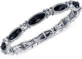 2028 Silver-Tone Black Stone and Crystal Stretch Bracelet