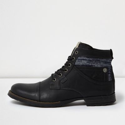 River Island Mens Black leather textile collar boots