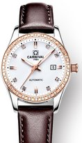 Carnival Women's Automatic Mechnicial Analog Luxury Mother of Pearl Dial Rhinestons Index Calendar Date Stainless Steel Dress Wrist Watches with Leather Band (Brown Band-Rose-Gold)