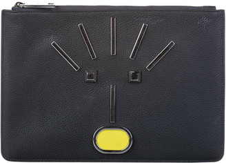 Fendi Black Leather Monster Zip Pouch