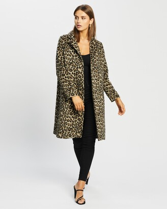 Atmos & Here Atmos&Here - Women's Brown Winter Coats - Lorena Wool Blend Animal Coat - Size 8 at The Iconic
