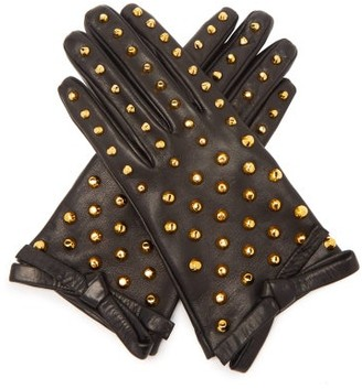 Prada Studded Leather Gloves - Black