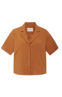 Anémone The Hutton Linen-blend Shirt - Orange