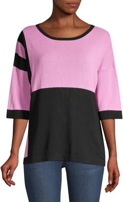 Beatrice. B Colorblock Sequin Zebra Knit Tee