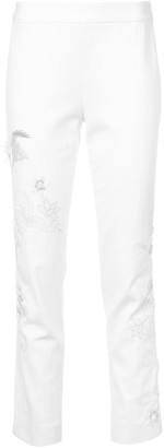 Josie Natori Embroidered Cropped Trousers