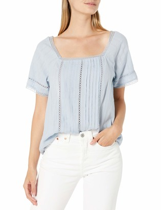 Lucky Brand Women's Short Sleeve Square Neck Millie Pintuck Top