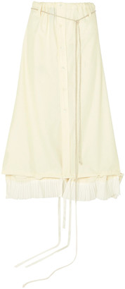 Ann Demeulemeester Convertible Ruched Cotton Midi Skirt