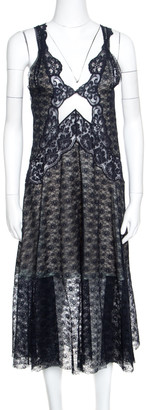Stella McCartney Navy Blue Floral Lace Semi Sheer Sleeveless Midi Dress S