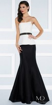 Mac Duggal Mock Two Piece Color Blocked Evening Dress