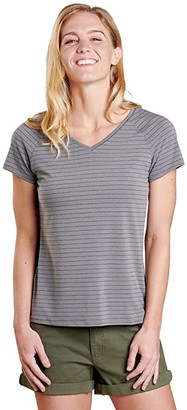Toad&Co Swifty V-Neck Short Sleeve Tee (Heather Grey Swifty Stripe) Women's Clothing